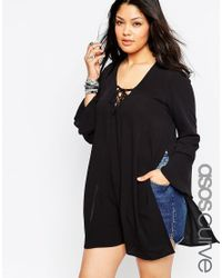 ASOS | Black Curve 70's Lace Front Tunic Top | Lyst
