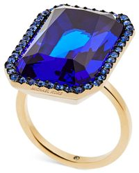 Michael Kors | Gold-tone Blue Pavé Stone Ring | Lyst