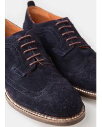 Mango - Blue Brogueing Suede Blucher for Men - Lyst