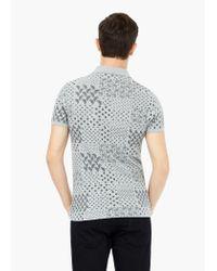 Mango | Gray Printed Cotton Piqué Polo Shirt for Men | Lyst