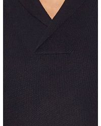 Ermenegildo Zegna - Blue Shawl-neck Silk-blend Sweater for Men - Lyst