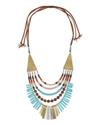 Nakamol - Blue Multilayer Turquoise Magnesite & Leather Necklace - Lyst