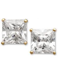 Arabella - Metallic Swarovski Zirconia Princess Cut Stud Earrings (3-3/4 Ct. T.w.) - Lyst