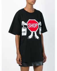 Moschino - Black Shop Print Oversized T-shirt - Lyst