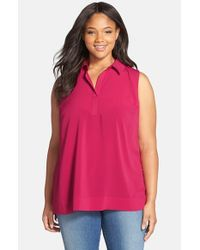 Sejour | Red Split Neck Sleeveless Woven Shirt | Lyst