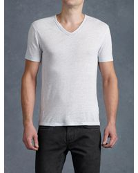 John Varvatos | White Short Sleeve Slub V-neck Tee for Men | Lyst