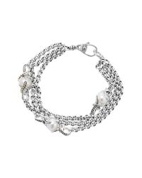 Lagos | Metallic 'luna' Pearl Three-row Bracelet | Lyst