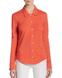 Michael Stars | Orange Jersey Button-front Top | Lyst