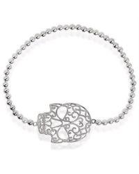 Aeravida | Metallic Tattoo Open Swirl Skull Charm Sterling Silver Elastic Beads Bracelet | Lyst