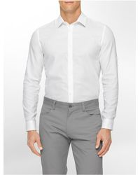 Calvin Klein | White Label Classic Fit Textured Dobby Roll-up Sleeve Shirt for Men | Lyst