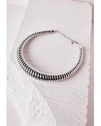 Missguided | Metallic Oversized Choker Necklace Silver | Lyst