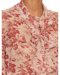 Gucci - Natural Herbarium-print Long-sleeved Silk Shirt - Lyst