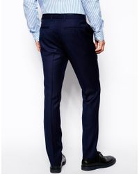 French Connection - Blue Slim Fit Suit Trouser Basket Weave for Men - Lyst