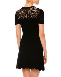 Valentino - Black Stretch-knit Chevron-ribbed Dress - Lyst
