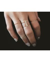 Vrai & Oro | Yellow Double Stacked Diamond Line Ring | Lyst