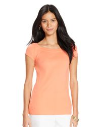 Lauren by Ralph Lauren | Orange Cap Sleeved Ballet Neck Top | Lyst