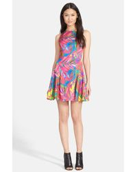 MILLY | Multicolor Feather Print Dress | Lyst