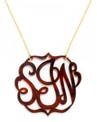 BaubleBar | Metallic Extra Large Acrylic Script Monogram Necklace | Lyst