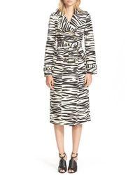 Burberry Prorsum Natural Zebra Print Trench Coat