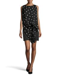 Halston | Black Polka-dot Draped Shift Dress | Lyst