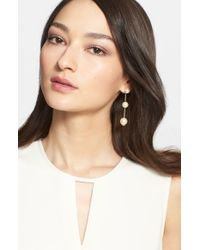 St. John | Metallic Faux Pearl Drop Earrings | Lyst