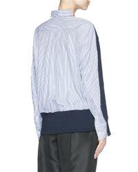Sacai Luck - Blue Pinstripe Shirt Back Sweater - Lyst