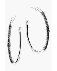 John Hardy | Metallic 'Bamboo - Lava' Pave Sapphire Hoop Earrings | Lyst