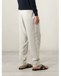 Giorgio Armani | Natural Drop Crotch Pleated Trousers for Men | Lyst