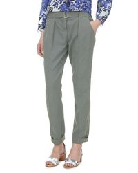 Rebecca Taylor | Green Belted Twill Pant | Lyst