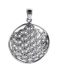 Aeravida | Metallic Timeless Jasmine Flower Of Life Sterling Silver Pendant-26mm | Lyst