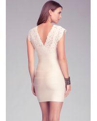 Bebe - Pink Cutout Lace Twofer Bandage Dress - Lyst