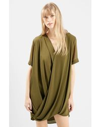 TOPSHOP | Green Chiffon Drape Tunic Dress | Lyst