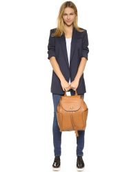 Tory Burch | Brown Frances Flap Backpack - Bark | Lyst