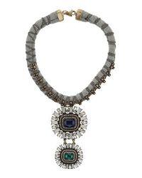 TOPSHOP - Blue Premium Rhinestone Drop Collar - Lyst