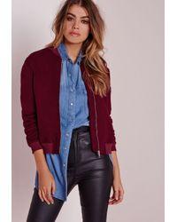 Missguided - Purple Ponte Bomber Jacket Burgundy - Lyst