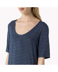 Tommy Hilfiger - Blue Cotton Viscose Short Sleeve Dress - Lyst