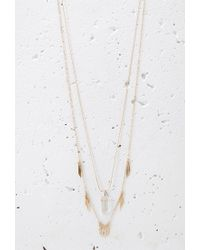 Forever 21 | Metallic Faux Stone And Matchstick Charm Necklace | Lyst