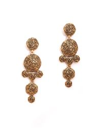 Oscar de la Renta | Metallic Swirl Drop Clip On Earrings Russian Gold | Lyst