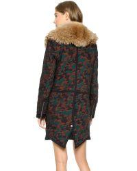 Veronica Beard - Multicolor Camo Jacquard Parka With Fur Collar - Multi - Lyst