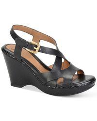 Söfft - Black Vivien Platform Wedge Sandals - Lyst