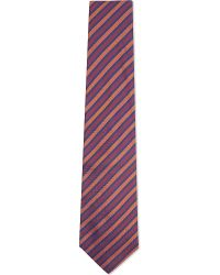 Turnbull & Asser | Herringbone Striped Silk Tie, Men's, Red Orng for Men | Lyst