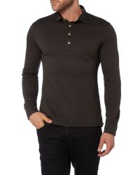 Armani Jeans | Black Slim Fit Long Sleeve Pocket Polo Shirt for Men | Lyst