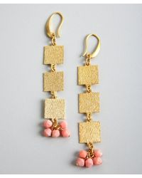 David Aubrey - Metallic Gold and Pink Coral Square Drop Earrings - Lyst