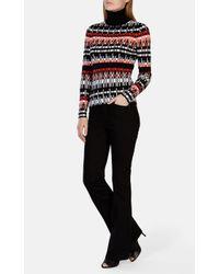 Karen Millen - Red Graphic Knit Roll-neck Jumper - Lyst