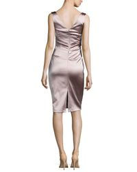 Talbot Runhof - Metallic Dowina Sleeveless Ruched Satin Cocktail Dress - Lyst