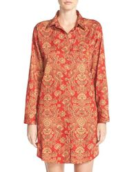 Lauren by Ralph Lauren | Red Sateen Sleep Shirt | Lyst