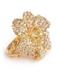 Alexander McQueen - Metallic Swarovski Crystal Flower Ring - Lyst