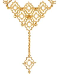 Isharya | Metallic Filigree Spoke 18Kt Gold-Plated Ring Bracelet | Lyst