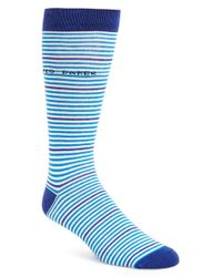 Ted Baker | Blue Stripe Socks for Men | Lyst