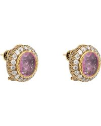 Munnu - Pink Ruby & Diamond Oversize Circular Studs - Lyst